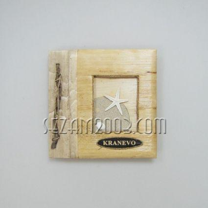 Албум за снимки-10 листа-еко материали с надпис от пясъ-KRANEVOк