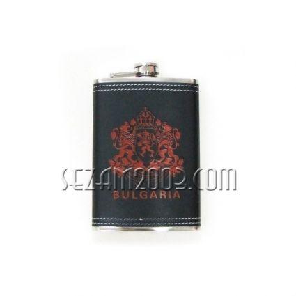 бутилка за алкохол от метал и изк.кожа с надпис BULGARIA