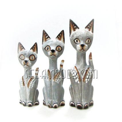 Котки от дърво декорирани 3бр.к-т