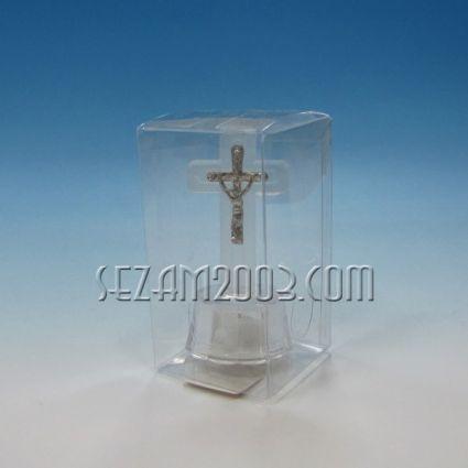 КРЪСТ от стъкло с лампички в подаръчна кутийка