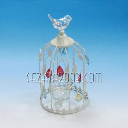 КАФЕЗ с птичка - свещник от метал и пластмаса