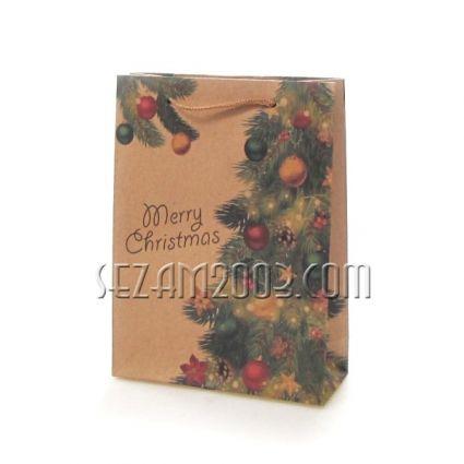 Подаръчна торбичка от  крафт хартия  КОЛЕДНА