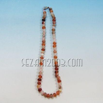 Колие обработени камъни - АХАТИ-ф5,8мм с възли