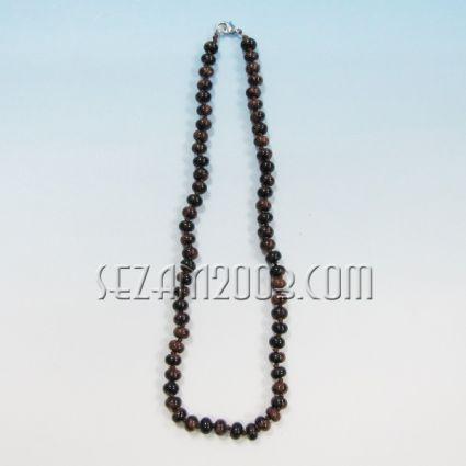 Колие обработени камъни - унакит-ф5,8мм с възли