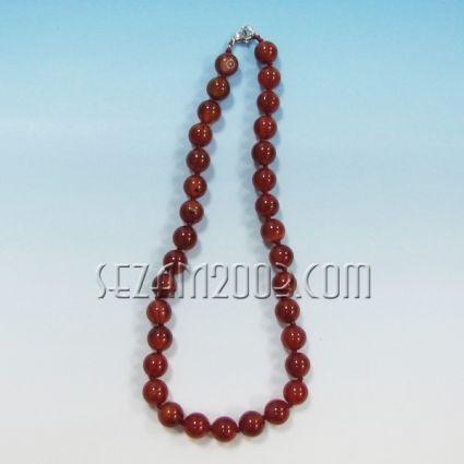Колие обработени камъни-червен ахат-ф12мм