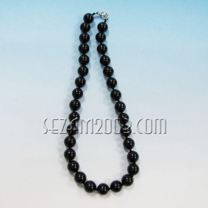 Колие обработени камъни-черен обсидиан-ф12мм