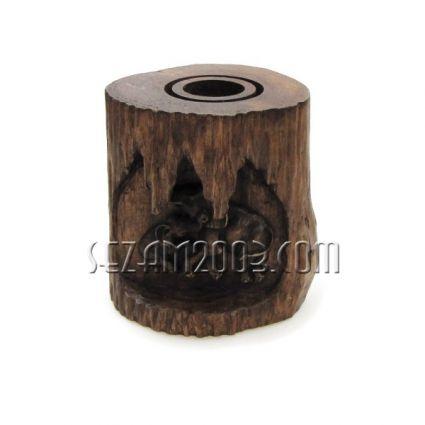 СВЕЩНИК пън от тиково дърво със слончета различна форма-ръчна изработка