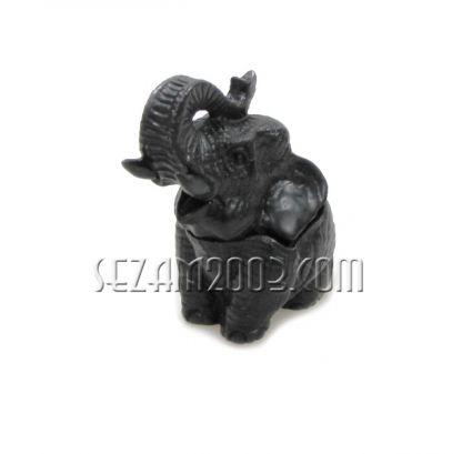 КУТИЯ със слон  - сувенир от черен полирезин