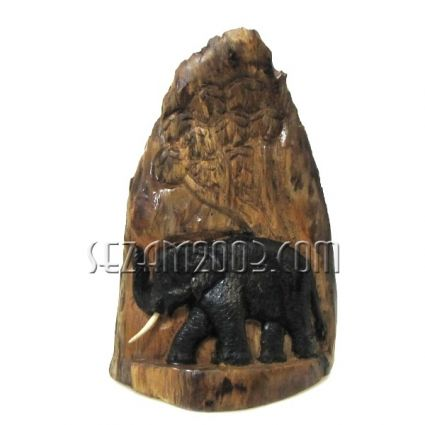 Слон издълбан в дънер от тиково дърво-настолен/стенен ръчна изработка