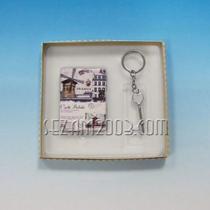 Ключодържател+огледалце от метал и плат в подаръчна кутийка