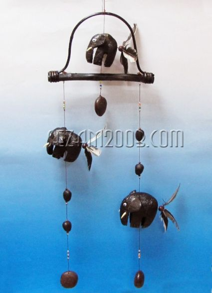 вят.звънец+въртележки СЛОН от кокос