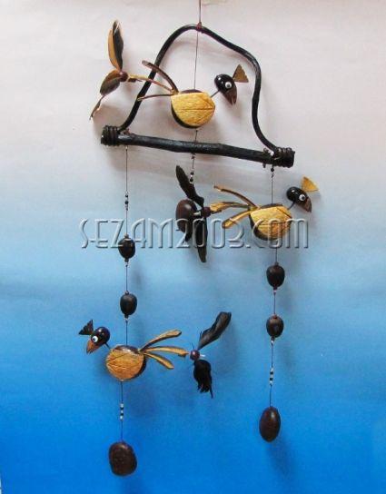 вятърен звънец+въртележки ПАПАГАЛ от кокос
