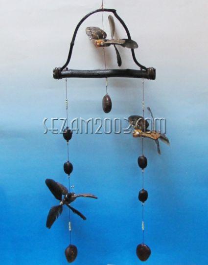 вятърен звънец+въртележки ПЕПЕРУДА от кокос
