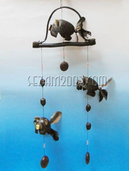 вятърен звънец+въртележки ПРАСЕ от кокос