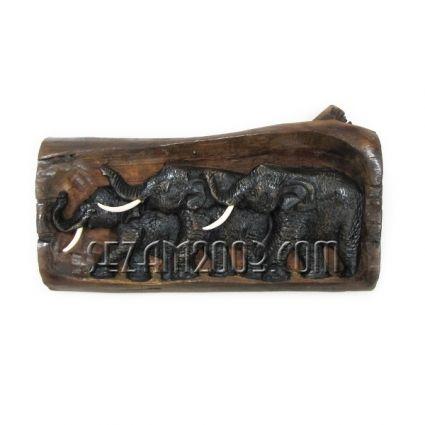 Пано стенно от тиково дърво - три слона  ръчна изработка