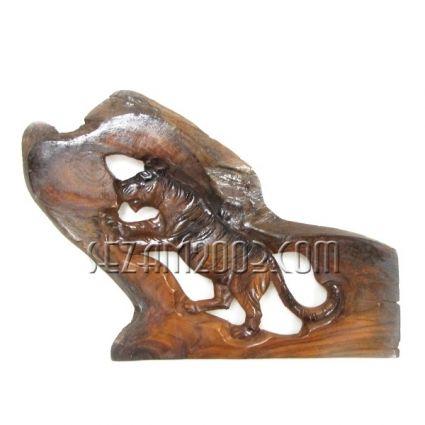 Пано стенно от тиково дърво - тигър ръчна изработка различни форми