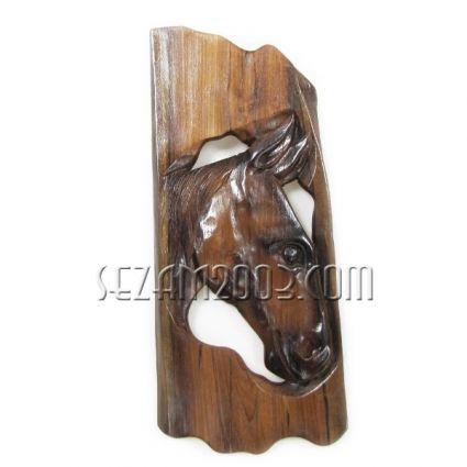 Пано стенно от тиково дърво - конска глава ръчна изработка