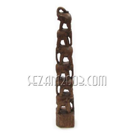 Пирамида от слончета - фигура от дърво ръчна изработка