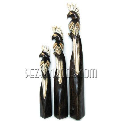 ПАПАГАЛИ от дърво декорирани 3 бр.к-т
