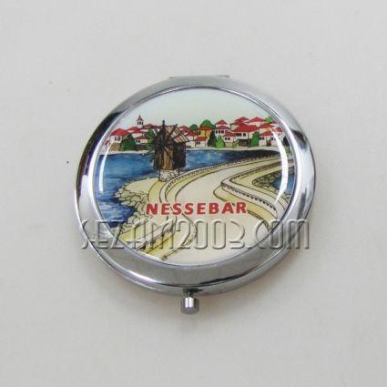 Огледало метално с изглед и надпис Несебър