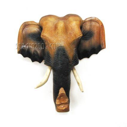 Слонска глава от дърво стенна ръчна изработка