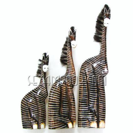 ЗЕБРИ фигури от дърво декорирани 3 бр.к-т