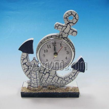 рул с часовник настолен от дърво с морски декор