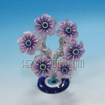 ДЪРВО с цветя пластмаса и НАЗАР от стъкло - сувенир