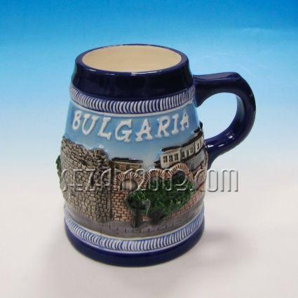 Халба за бира от керамика с изгледи от България