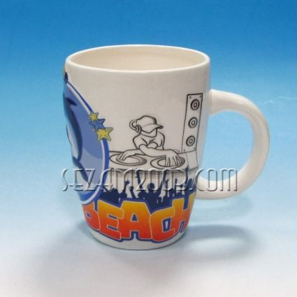 чаша керамична с релефни илюстрации -Слънчев бряг