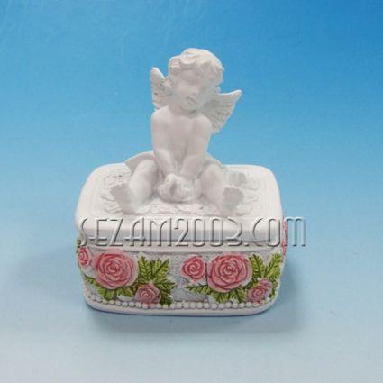 АНГЕЛЧЕ и рози - кутийка за бижута от полирезин