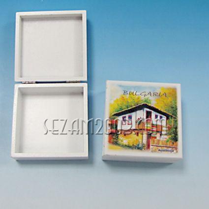 кутийка от дърво бяла с изглед - БЪЛГАРИЯ