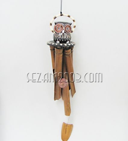 OWL - wind bell bamboo and wood