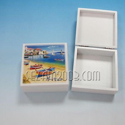 кутийка от дърво бяла с изглед - Китен