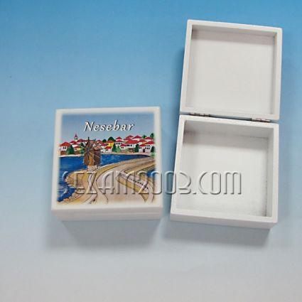 кутийка от дърво бяла с изглед - Несебър