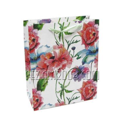 Подаръчна торбичка от лукс хартия - цветя колаж