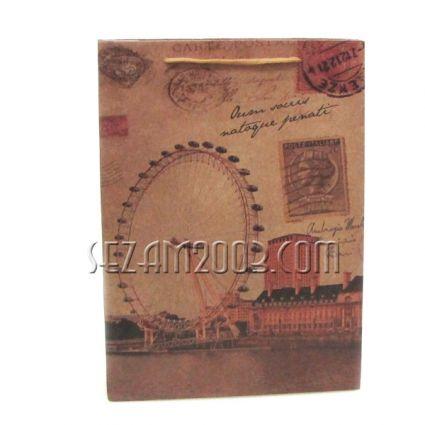 подаръчни торбички кафява хартия - Рим/Лондон/Париж