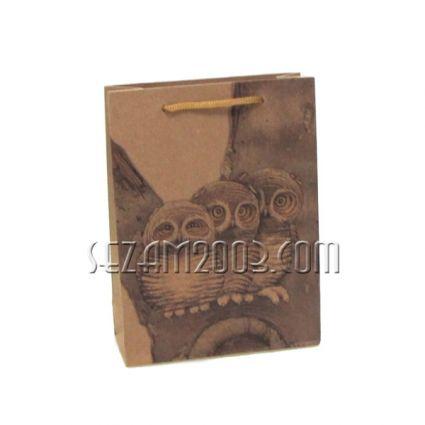 подаръчни торбички кафява хартия - бухал/катерица