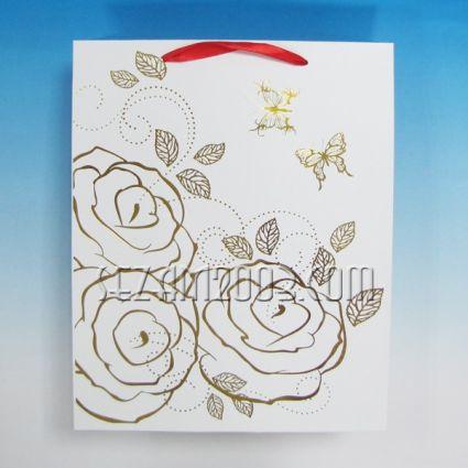 подаръчни торбички лукс хартия-роза