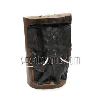 Пънче от тиково дърво с дърворезба слончета - за стена или настолно ръчна изработка