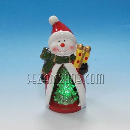Коледна фигурка от керамика+светеща елха с лампички
