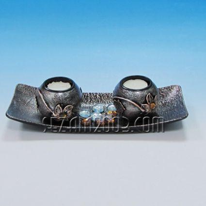 Свещник двойка с поднос от мдф декориран+камъчета