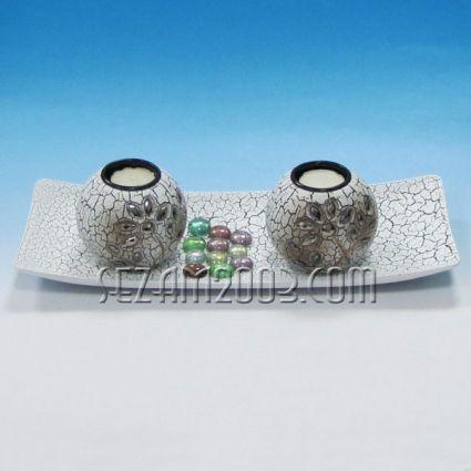 Свещник 2-ка+поднос декорирани от мдф+камъчета
