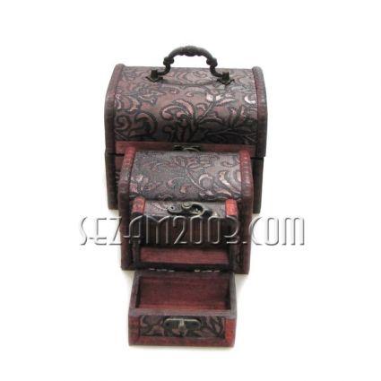 Кутии за бижута от дърво декорирани -3 броя  комплект