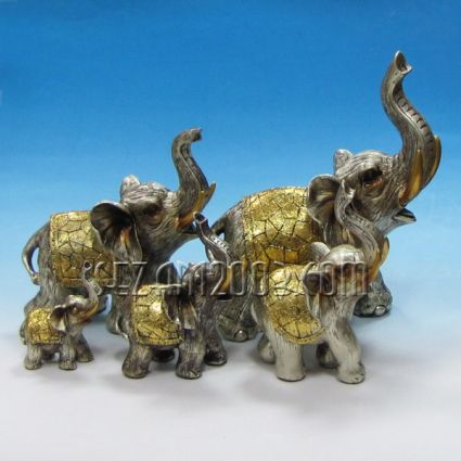 Elephants 5 pieces set - figures polirezin