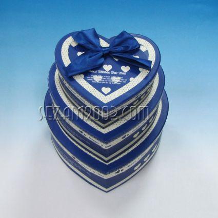 подаръчни кутии от лукс хартия и картон СЪРЦЕ - 3 бр.к-т