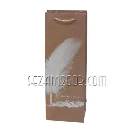 Подаръчна торбичка за бутилка вино от лукс хартия - ПЕРО