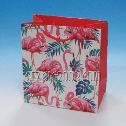 подаръчна торбичка лукс хартия-ФЛАМИНГО
