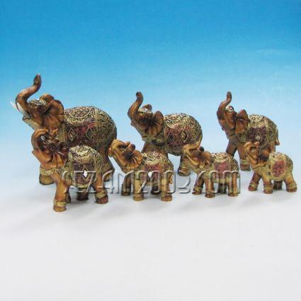 Слончета декорирани от полирезин 7 бр. к-т