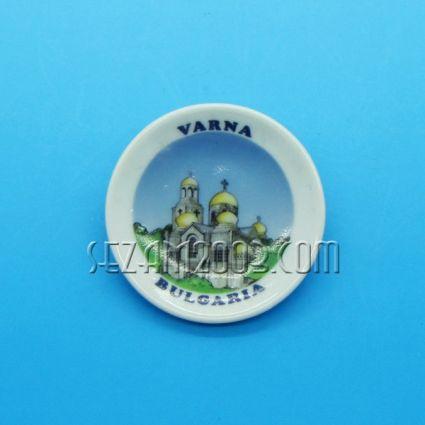керамична чинийка-магнит за хладилник с картинка на Варна
